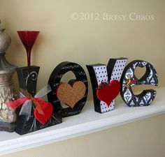 Unfinished Wood LOVE Letters Valentine Decor by artsychaos on Etsy, $14.99