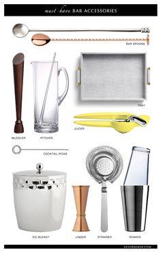 Must-Have Bar Accessories #barware #bartools #entertaining | savormaker.com