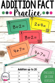 Make practicing addition facts more fun with these addition up to 20 task cards! Includes a QR code version so students can check their answers with their devices. Build math fact strategies and fluency with this task card set. #mathfacts #mathcenters #elementary #addition #taskcards