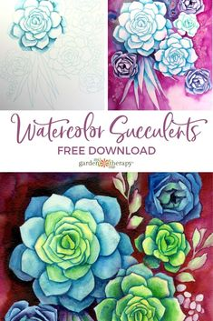 Learn Watercolor Painting, Watercolor Images, Watercolor Trees, Watercolor Portraits, Watercolor Landscape, Watercolor Succulents, Succulents Painting, Succulents Wallpaper, Succulents Drawing