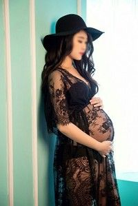 Wish | Sexy Black lace Maternity dress Photography Props Long lace dress pregnant women Elegant Fancy Photo Shoot Studio Clothing