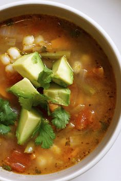 on the menu: mexican vegetable soup with lime and avocado