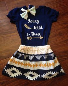Young Wild & Three shirt//Fall birthday shirt//Third birthday shirt//Three birthday Outfit//Aztec print outfit//