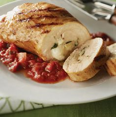 Artichoke-Stuffed Chicken with Fresh Tomato Marinara Sauce is just fabulous. Plain and simple. If you're pressed for time, stuff the chicken ahead of time and refrigerate until you're ready to grill.