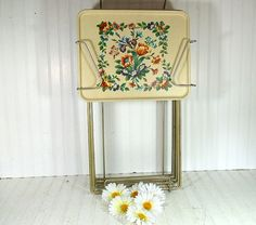 Vintage Early NeedlePoint Style Litho Metal Tray by DivineOrders, $120.00