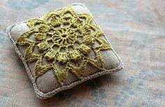 linen, sachet, crochet, lace, doily, pincushion