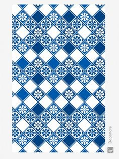 """This vinyl carpet category is inspired by the typical Portuguese and Spanish architecture ornament, the glazed ceramic tile called """"Azulejos"""", decorated in blue and white color. This style brings in your houses a maritime and warm atmosphere. Perfect in your modern rooms to create decorative contrasts.Designed and made in Italy with love and care, our Huella vinyl mats are created to enhance your living space with elegance and beauty.The style and symmetrical designs of our produc..."""