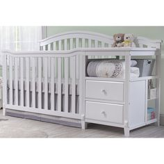 Classic style with fluting and gently curved front and back panels. All-in-one crib with changer and storage drawers. Features sturdy construction in a durable painted white finish.<br> <br>Sorelle creates high-quality nursery furniture that grows with your infant and toddler. For over 30 years, the Sorelle name has been synonymous with style and sturdy construction. The company's nursery furniture collections eloquently combine form and function, and are available in classic,...