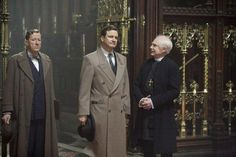 """Geoffrey Rush, as Lionel Logue, Colin Firth as King George VI, and Derek Jacobi as the Archbishop of Canterbury, in """"The King's Speech""""."""