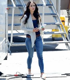Jordana Brewster, 34, was seen showing off her slender figure on set of Fast & Furious 7 in Los Angeles