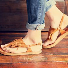 Fringe Sandals | 41 Amazing Free People-Inspired DIYs. Add a boho vibe to your favorite pair of simple summer sandals.