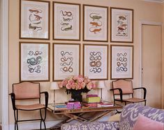 """Antique prints and Jacques Adnet chairs surround a 1940s mirrored cocktail table."" Paris apartment rented by textile designer Lisa Fine. ""Self-Portrait"" by Natasha Fraser-Cavassoni. Elle Decor."