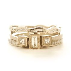 Inspired by a Dancer, this stack combines curved soft lines with geometric diamonds.