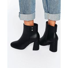 ASOS ELAN Heeled Ankle Boots (170 ILS) ❤ liked on Polyvore featuring shoes, boots, ankle booties, black, black studded booties, vegan boots, ankle boots, black boots and block-heel ankle boots