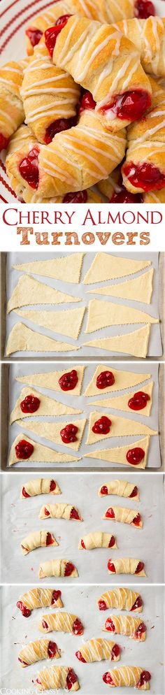 5 Ingredient Cherry Almond Turnovers - these are so easy to make and my whole family loved them! Made with store bought crescents and pie filling for a super simple dessert.