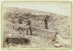 """""""Gold Dust."""" Placer mining at Rockerville, Dak. Old timers, Spriggs, Lamb and Dillon at work"""