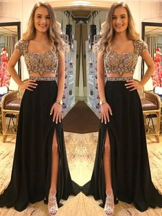 Fashion Elegant Two Piece Black Beading V Neck Cap Sleeve Open Back Prom Dress with Split, Evening Formal Dresses