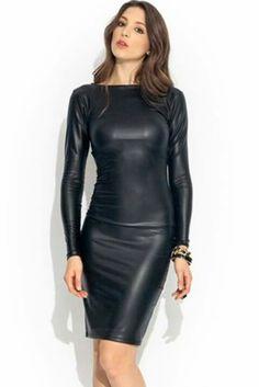cec2764eeec811 Leather Bodycon Dress
