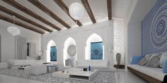The design comes from the Mimar Interiors, and incorporates the stunning colors and contrast that are so common in Moroccan-inspired designs.