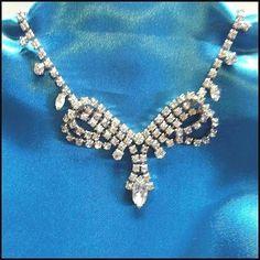 Vintage-50s-Weiss-Rhinestones-Lavaliere-Bridal-Necklace