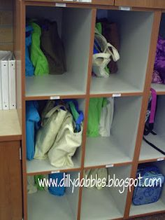 Organize the books students are reading. Keep the books nice and give students easy and quick access to the books from your classroom library.  Keep the books in canvas tote bags.  Store in a cubby or on hooks mounted to a wall; whatever will work for your classroom set-up.