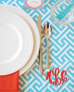 Turquoise and coral theme with monogrammed Greek Key Placemat