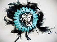 Annie Hair Flower  www.darecrafts.com #hairflower #hairaccessories #hairflowerclip #steampunkaccessories
