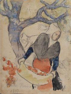 Émile Bernard (Fr. 1868-1941), La Récolte des pommes, 1887, crayon et aquarelle sur papier, 19,3 x 15 cm, Brest, musée des Beaux-Arts