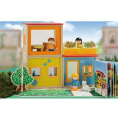 Stackable small dollhouse with book