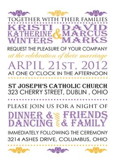 Purple Modern Wedding Invitation. Available in my etsy shop. ~Invited Inc~. I kind of like this!