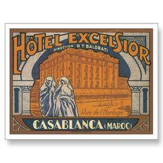 Vintage Casablanca Morocco Travel Poster  - Maroc Désert Expérience tours http://www.marocdesertexperience.com