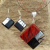 Dichroic art glass jewelry set, 'Sophisticate'