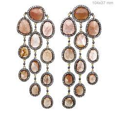 Sterling Silver Pave Diamond Rutile Quartz Chandelier Earrings 14k Gold Jewelry #raj_jewels