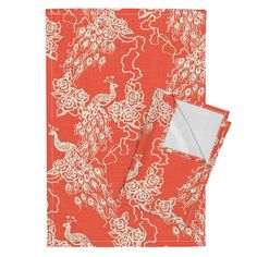 Orpington Tea Towels featuring PEACOCKS + ROSES - coral chinoiserie by marcador | Roostery Home Decor