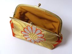 Orange and gold metallic obi fabric clutch bag by cheekyleopard