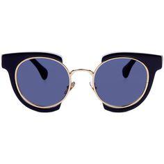 Kaleos Nero Round Deckard Sunglasses ($205) ❤ liked on Polyvore featuring accessories, eyewear, sunglasses, glasses, clear glasses, cat eye glasses, clear sunglasses, clear round glasses and vintage cateye sunglasses