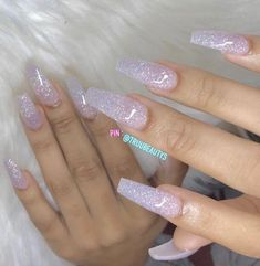 French Fade With Nude And White Ombre Acrylic Nails Coffin Nails Fabulous Nails, Gorgeous Nails, Pretty Nails, Clear Acrylic Nails, Clear Glitter Nails, Crazy Acrylic Nails, Silver Glitter, Nagel Blog, Aycrlic Nails