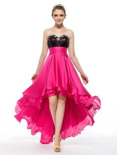 NextProm.com Offers High Quality Cheap A-Line Sweetheart Hot Pink High Low Prom Dresses With Ruffles Sequined Top,Priced At Only USD USD $145.00 (Free Shipping)