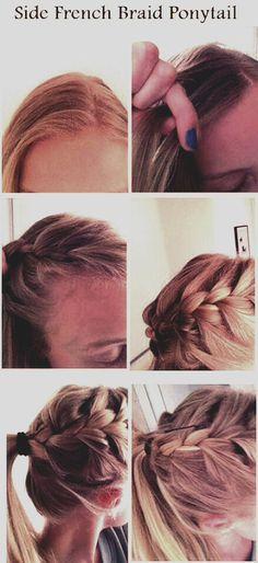 Side French Braid Pferdeschwanz - New Site French Braid Ponytail, Side French Braids, Braided Buns, Side Braids, Messy Buns, Braid Hair, Love Hair, Gorgeous Hair, Pretty Hairstyles