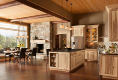 rustic hickory kitchen cabinets modern kitchen rustic decor open plan living space