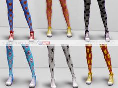 Adult/Teen Female Tights. 6 swatches. [MARVEL] Captain America, Black Widow…