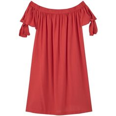 Mango Off The Shoulder Dress , Red (€25) ❤ liked on Polyvore featuring dresses and red