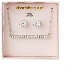 Charlotte Russe Stud Earrings & Bar Pendant Necklace Set ($5.59) ❤ liked on Polyvore featuring jewelry, earrings, silver, silver bar necklace, facet jewelry, post earrings, silver jewelry and bar pendant necklaces