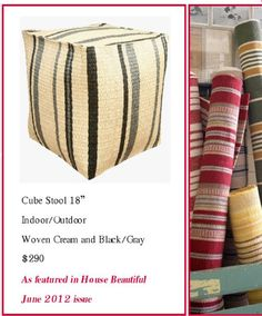 """Crisp, casual and functional for indoors  and out.  Cube stool in cream with black and gray stripes, 18"""". Available at Saffron Trading Company"""