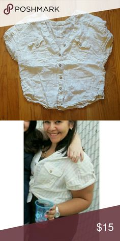 """💙 UNLISTING - buttoned crop top. - ivory/cream top that can be worn closed, open, or tied. - all buttons are fully functioning.  - the tag reads """"I Love H81 - An American Brand,"""" but i recall purchasing it from F21. - has had a good life, but has a lot more love to offer! price shown reflects wear, but will accept any reasonable offers! Forever 21 Tops Crop Tops"""