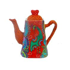 whimsical teapot made with polymer clay original by MIRAKRIS, $110.00