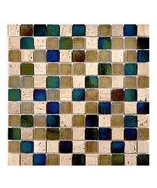 Kew Nature/Glass Mix Mosaic Square Tile