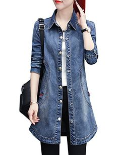 Tanming Women's Casual Long Sleeve Denim Jean Baseball Jacket Outerwear (Blue, X-Small) Denim Jacket Fashion, Denim Outfit, Trench Coat Outfit, Outerwear Jackets, Denim Jackets, Jean Jackets, Girl Sleeves, Summer Work Outfits, Women's Casual