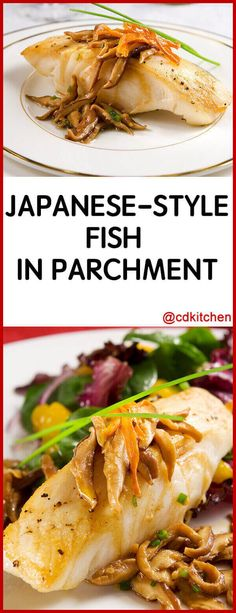Japanese Style Fish In Parchment Paper - Japanese parchment packets of flavorful fish and vegetables are a unique way to serve. Cutting open a steamin. Steamed Fish Recipes Healthy, Wasabi Recipes, White Fish Recipes, Salmon Recipes, Asian Recipes, Healthy Recipes, Keto Recipes, Healthy Food, Seafood Dishes
