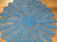 Crochet vibrant blue / peacock color doily new